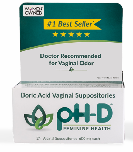 pH-D Feminine Health Boric Acid Vaginal Suppositories 600mg Perspective: bottom