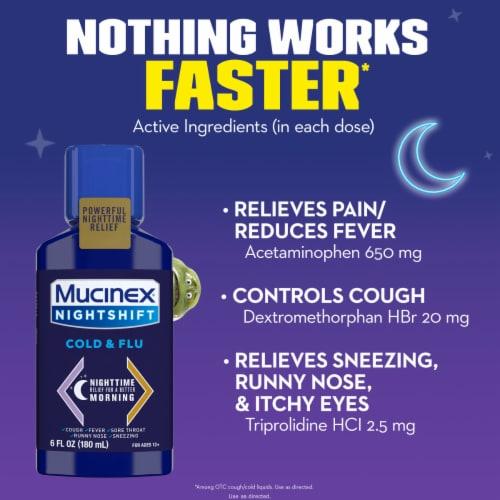 Mucinex Nightshift Cold & Flu Multi-Symptom Relief Liquid Medicine Perspective: bottom