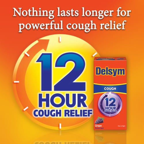 Delsym 12-Hour Grape Flavored Cough Suppressant Liquid Perspective: bottom