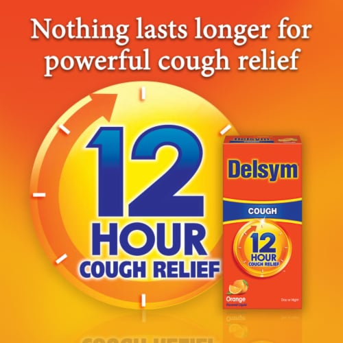 Delsym 12 Hour Relief Orange Flavored Liquid Cough Suppressant Perspective: bottom
