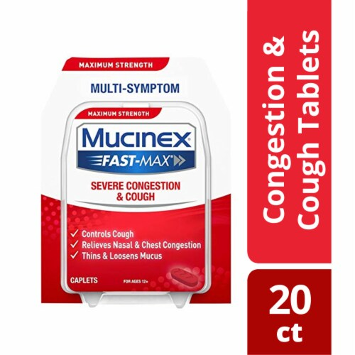 Mucinex Fast-Max Adult Severe Congestion and Cough Multi-Symptom Relief Medicine Caplets Perspective: bottom