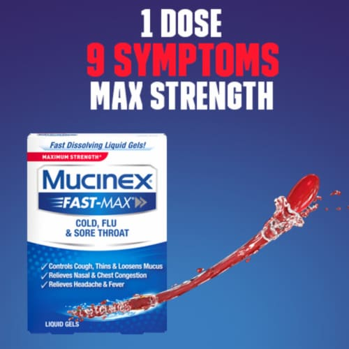 Maximum Strength Mucinex Fast-Max Cold Flu & Sore Throat Multi-Symptom Relief Liquid Gels Perspective: bottom