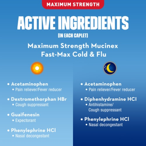 Mucinex Fast-Max Day and Nighttime All In One Cold & Flu Caplets 40 Count Perspective: bottom