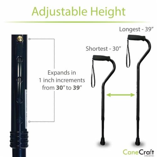Offset Handle Adjustable Walking Canes with Soft Foam Grip - Black Perspective: bottom