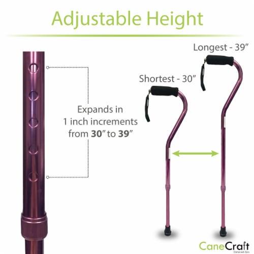 Offset Handle Adjustable Walking Cane with Soft Foam Grip - Magenta Perspective: bottom
