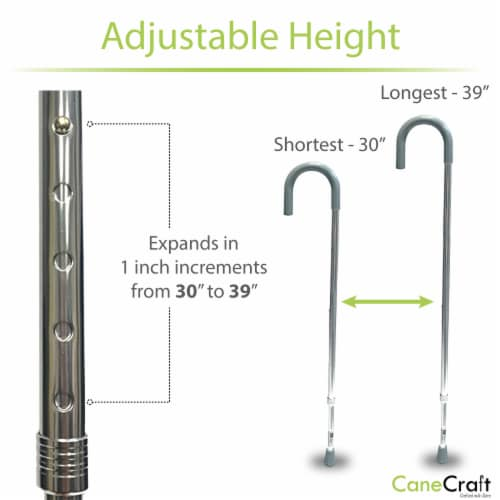 Slim Round Handle Height Adjustable Walking Cane - Silver Perspective: bottom