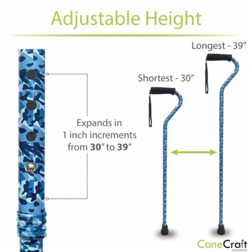 Offset Handle Adjustable Walking Cane with Soft Foam Grip - Blue Camo Perspective: bottom