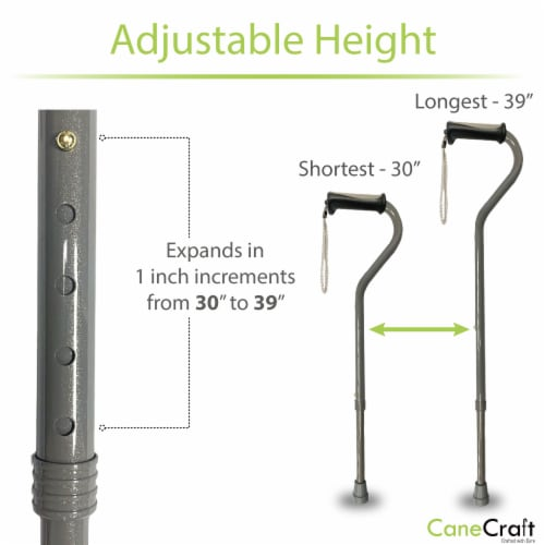 Offset Handle Walking Cane with Soft Rubber Grip - Pearl Grey Perspective: bottom