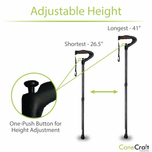 One Push Button Height Adjustable Walking Cane - Black Perspective: bottom