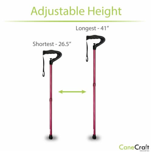 One Push Button Height Adjustable Walking Cane - Red Perspective: bottom