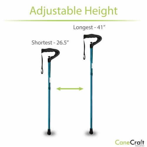 One Push Button Height Adjustable Walking Cane - Blue2 Perspective: bottom