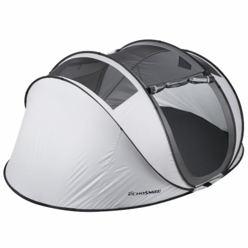 Echosmile 4-6 Person Gray Pop Up Tent With Rain Fly Perspective: bottom