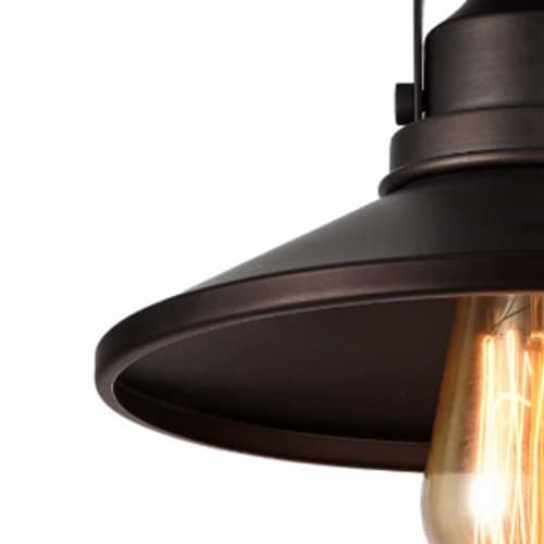 IRONCLAD Industrial-style 1 Light Rubbed Bronze Semi-flush Ceiling Fixture 9  Shade Perspective: bottom