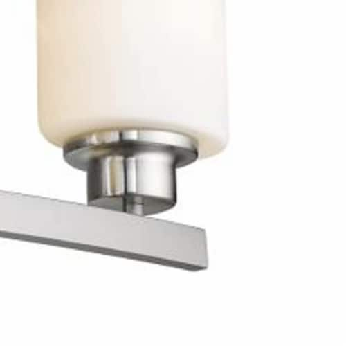 AALIYAH Contemporary 4 Light Brushed Nickel Opal White Glass 32  Wide Perspective: bottom