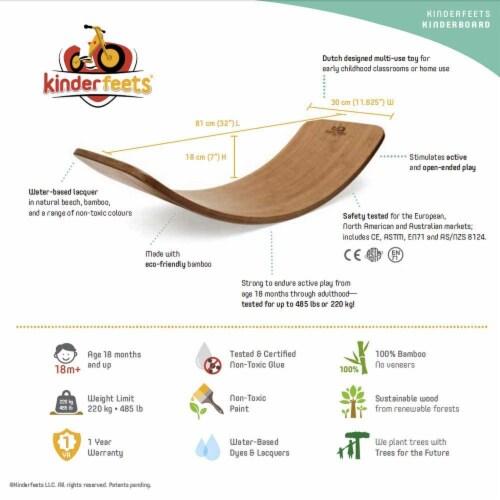 Kinderfeets Original Kinderboard Versatile Waldorf Wood Balance Board, Bamboo Perspective: bottom