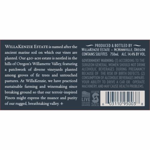 WillaKenzie Estate Pinot Noir Red Wine Perspective: bottom