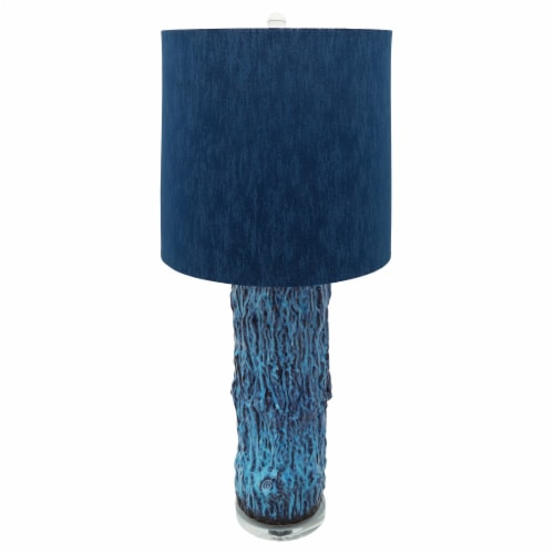 Ceramic 36.25  Log Table Lamp, Blue Perspective: bottom
