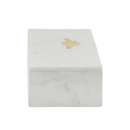 Marble 7X5 Marble Box W/ Bee Accent White Perspective: bottom