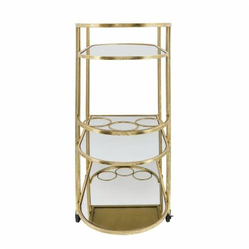 Metal, 37 H 3-Layered Bar Cart, Gold Perspective: bottom