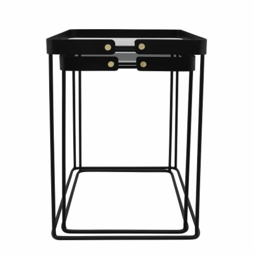 Metal, S/2 20/22 H Square Side Tables W/ Smokey Gl Perspective: bottom