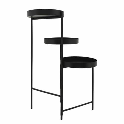 Metal, 32 H 3-Layered Plant Stand, Black Perspective: bottom
