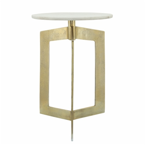Metal, 25 H, Side Table With White Marble Top, Gld Perspective: bottom