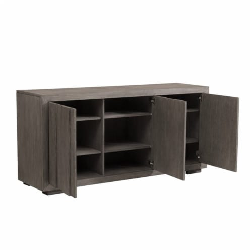 Home Fare Rustic Plank Front 3 Door Storage Console in Weathered Brown Perspective: bottom