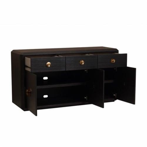 Home Fare Modern Minimalist 3 Drawer Console in Tuxedo Black Perspective: bottom
