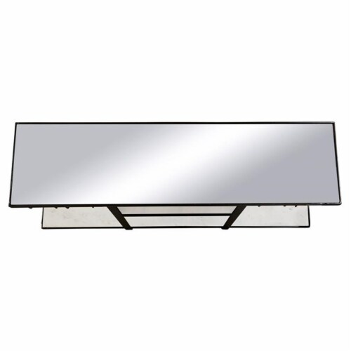 Industrial Metal and Marble Bar with Mirrored Top Perspective: bottom