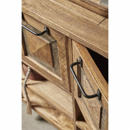 Rustic Brown Stone Inserts Wood Storage Console Table Perspective: bottom