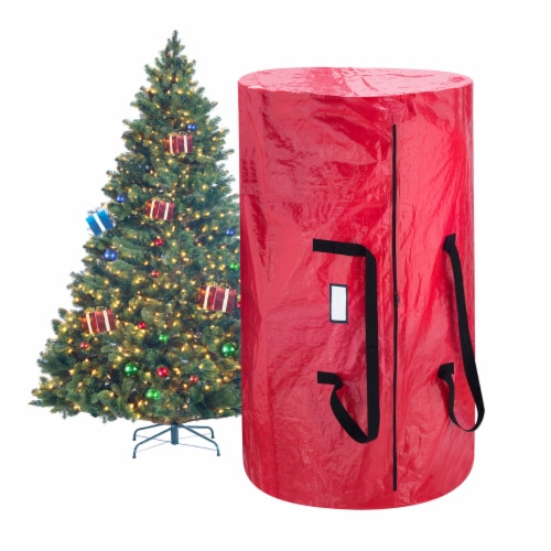 Christmas Tree and Wreath Storage Bag Organizers Zipper with Handles Red Perspective: bottom