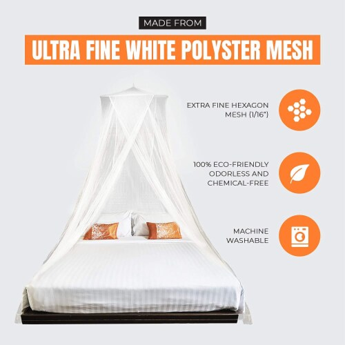 MEKKAPRO Extra-Large King Mosquito Bed Net, Made for King, Queen and Twin Perspective: bottom