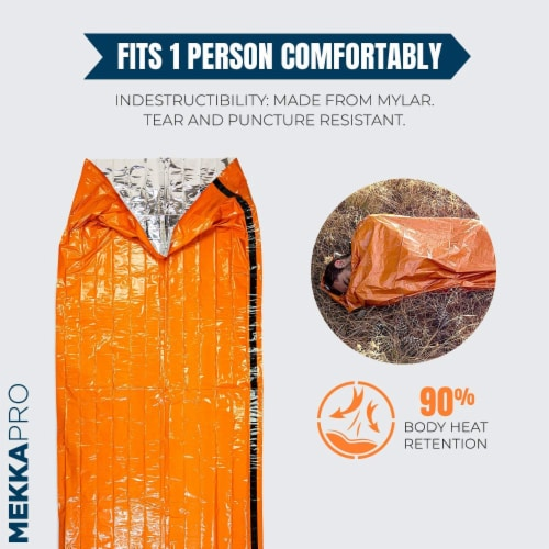 MEKKAPRO SOS Emergency Thermal Bivy Sleeping Bag with Survival Whistle, Survival Bivvy Sack Perspective: bottom