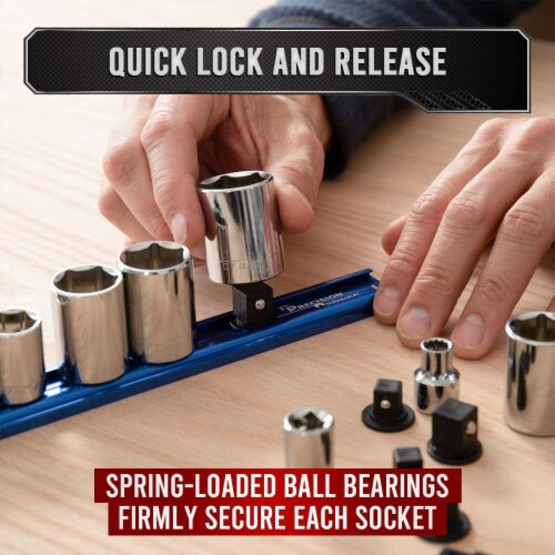 Precision Defined Aluminum Tool Socket Holder | Blue, Single 3/8  x 16 Clips Perspective: bottom