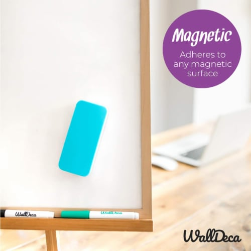 WallDeca Magnetic Premium Dry Eraser, Felt Bottom Surface, Made for White Boards (Teal) Perspective: bottom