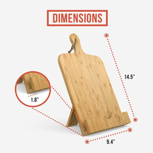 Chef Pomodoro Cookbook Recipe Stand, Fits iPad/tablets and Cookbooks, Wooden Kickstand Perspective: bottom