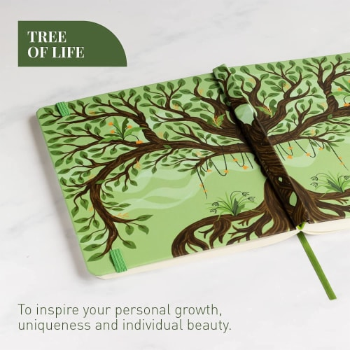 Rileys Tree of Life Journal Notebook, 8  x 6 , Unlined 120 Pages, Ivory Paper Perspective: bottom