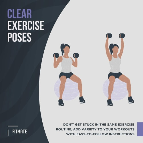 FitMate Stability Ball Workout Exercise Poster - Workout Routine Perspective: bottom