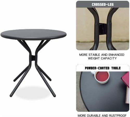 3-Piece Plastic Chair Set All-Weather Patio Conversation Set Perspective: bottom