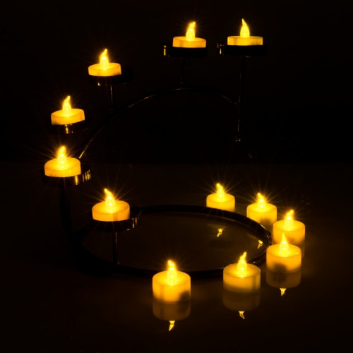 24pcs LED Tea Lights Timer Flameless Flickering Candles Amber Yellow Décor Perspective: bottom