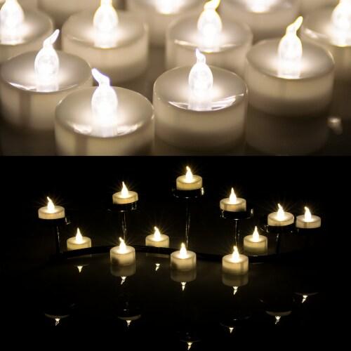 AGPtek 24 PCS LED Tealight Timer Warm White Candles Flameless Flickering Perspective: bottom