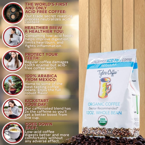 Tyler's No Acid Organic Coffee Beans - 100% Arabica Full Flavor- For No Acid Diets - 12 oz Perspective: bottom