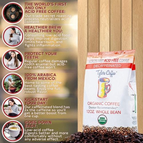 Tyler's No Acid Organic Coffee Beans, Arabica Full Flavor Decaf, 12 oz Perspective: bottom