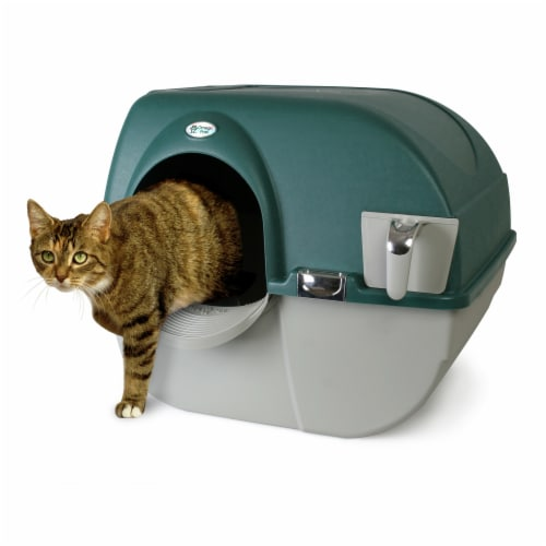 Omega Paw Roll'n Clean Unique No Scoop Self-Cleaning Home Cat Litter Box, Green Perspective: bottom