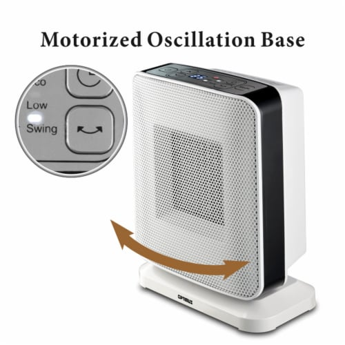 Portable Oscillation Ceramic Heater with Thermostat and LED Perspective: bottom