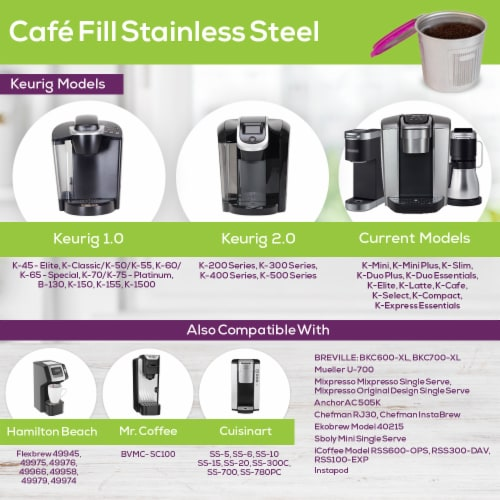 Cafe Fill Stainless Steel Reusable Filter For Keurig & Other K-Series and Select Models Perspective: bottom