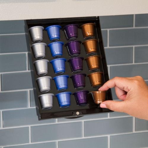 EZ-Shelf Coffee Pod Holder Under Cabinet Drawer Storage Organizer (for Nespresso Original Lin Perspective: bottom