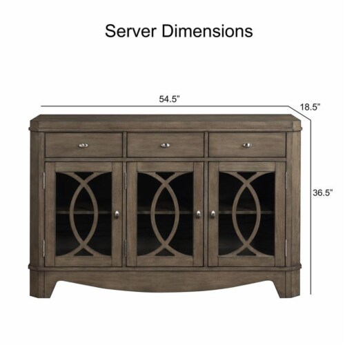 Bordeaux Toffee Brown 3-drawer Server Perspective: bottom