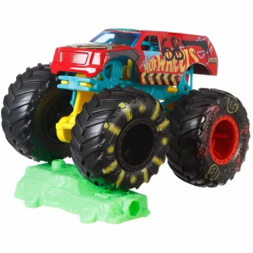 Hot Wheels Monster Trucks 1:64 Scale Demo Derby, Includes Crushable Car Perspective: bottom