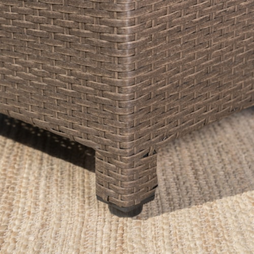 Venice Outdoor Light Brown Wicker Side Table Perspective: bottom